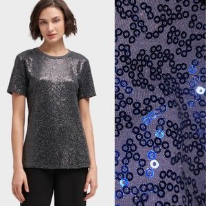 DKNY Sequined Navy T-Shirt TopSize: Small